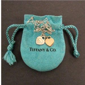 Tiffany&CO Double Heart Pendant 18KGOLD & SILVER